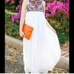 SheIn Embroidered Maxi Dress White XS or S NWOT